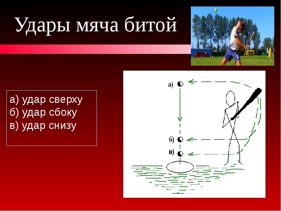 Удары мяча битой а) удар сверху б) удар сбоку в) удар снизу