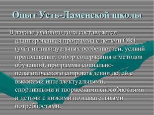 Опыт Усть-Ламенской школы В начале учебного года составляется адаптированная