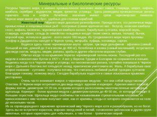 Минеральные и биологические ресурсы Ресурсы Черного моря, а именно промышленн