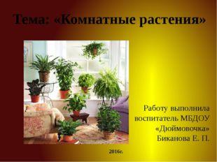 Тема: «Комнатные растения» Работу выполнила воспитатель МБДОУ «Дюймовочка» Би