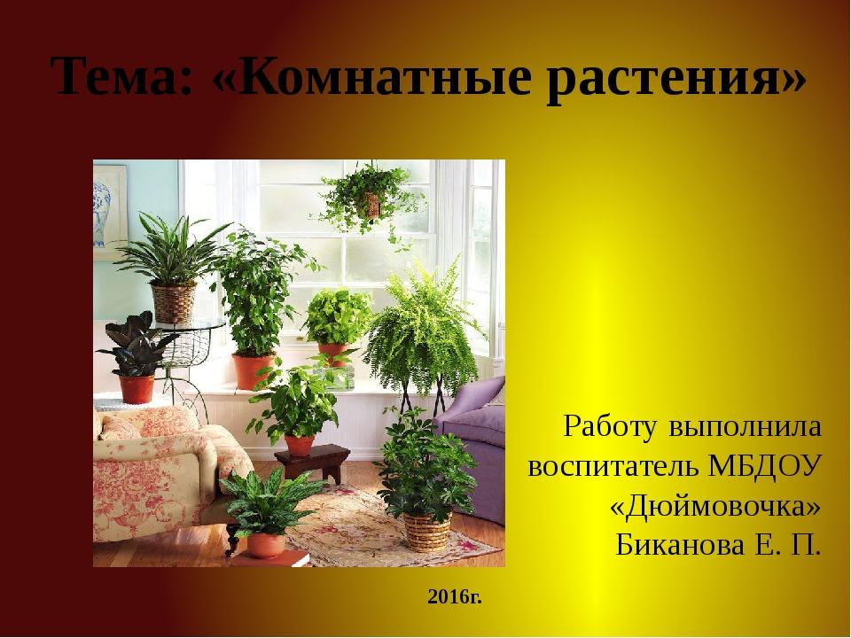 Тема: «Комнатные растения» Работу выполнила воспитатель МБДОУ «Дюймовочка» Би...