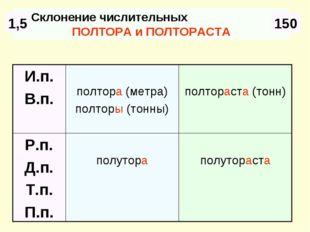 Склонение числительных ПОЛТОРА и ПОЛТОРАСТА 1,5 150 полутораста полутора Р.п.