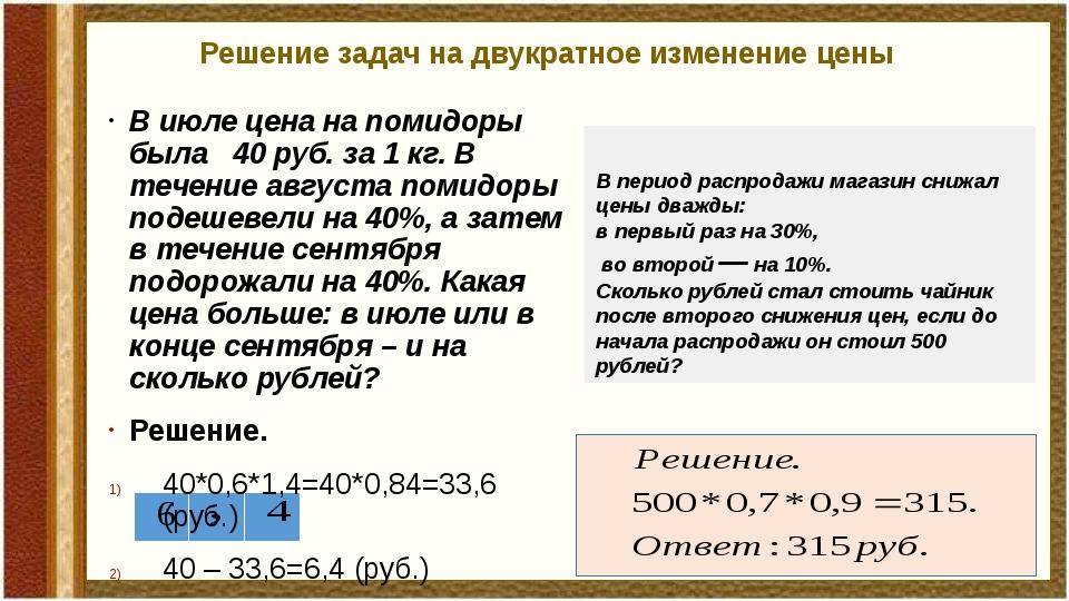 Решение задач на двукратное изменение цены В июле цена на помидоры была 40 ру...