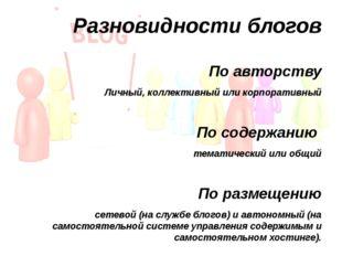 Разновидности блогов По авторству Личный, коллективный или корпоративный По с