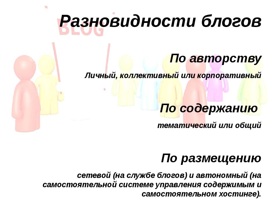 Разновидности блогов По авторству Личный, коллективный или корпоративный По с...