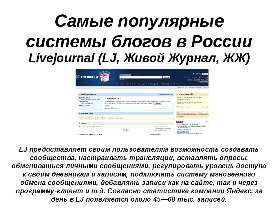 Самые популярные системы блогов в России Livejournal (LJ, Живой Журнал, ЖЖ) L...