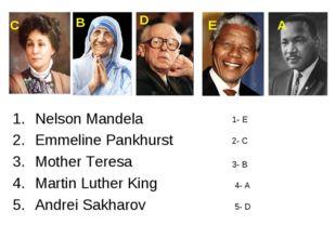 Nelson Mandela Emmeline Pankhurst Mother Teresa Martin Luther King Andrei Sak
