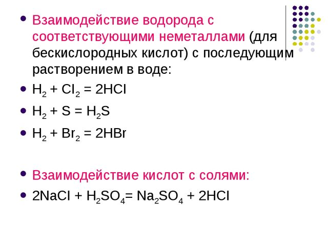 Взаимодействие водорода с соответствующими неметаллами (для бескислородных ки...