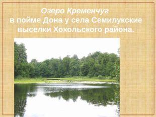 Озеро Кременчуг в пойме Дона у села Семилукские выселки Хохольского района.