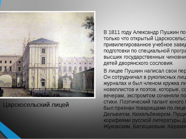 В 1811 году Александр Пушкин поступил в только что открытый Царскосельский ли...