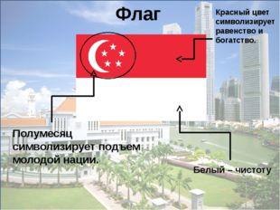 Полумесяц символизирует подъем молодой нации. Флаг Красный цвет символизируе