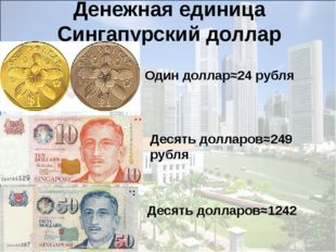 Денежная единица Сингапурский доллар Один доллар≈24 рубля Десять долларов≈24