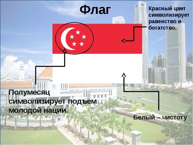 Полумесяц символизирует подъем молодой нации. Флаг Красный цвет символизируе...