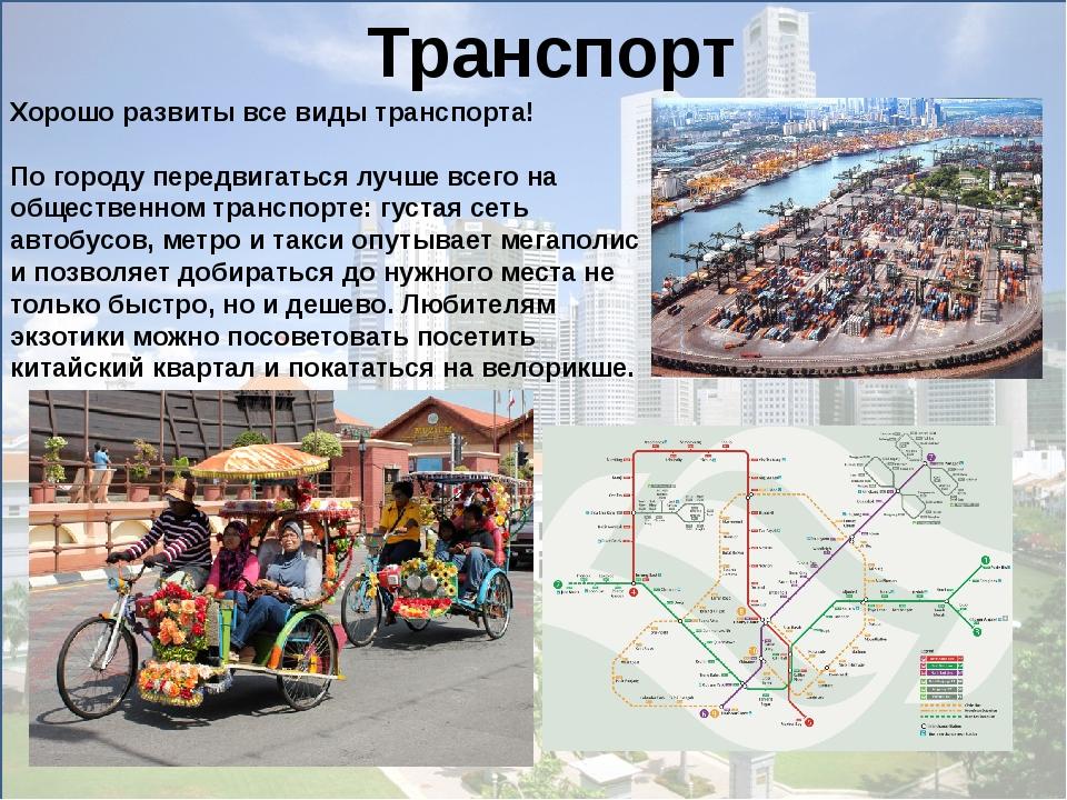 Транспорт Хорошо развиты все виды транспорта! По городу передвигаться лучш...