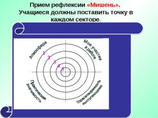 Прием рефлексии «Мишень». Учащиеся должны поставить точку в каждом секторе.