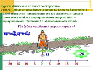 О v = 5, t = 4 Турист движется по шоссе со скоростью v км/ч. Сейчас он находи