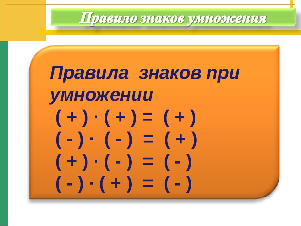 Правила знаков при умножении ( + ) · ( + ) = ( + ) ( - ) · ( - ) = ( + ) ( +...