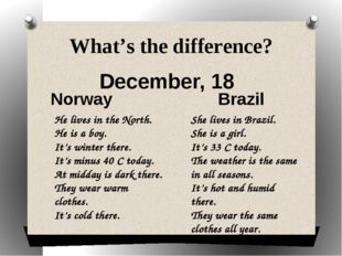 What's the difference? December, 18 Norway Brazil He lives in the North. He i
