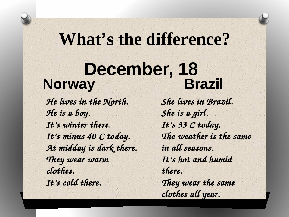 What's the difference? December, 18 Norway Brazil He lives in the North. He i...