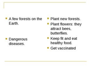 A few forests on the Earth. Dangerous diseases. Plant new forests. Plant flo