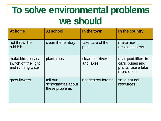 To solve environmental problems we should At home At school In the town In th...