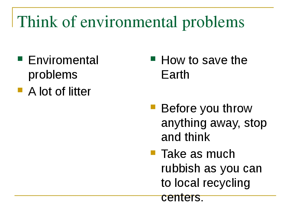 Think of environmental problems Enviromental problems A lot of litter How to...