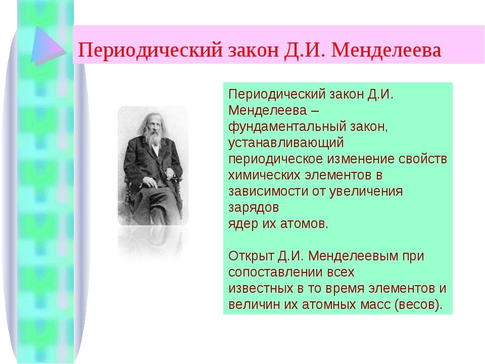 Периодический закон Д.И. Менделеева Периодический закон Д.И. Менделеева – фун...