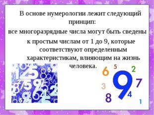 В основе нумерологии лежит следующий принцип: все многоразрядные числа могут
