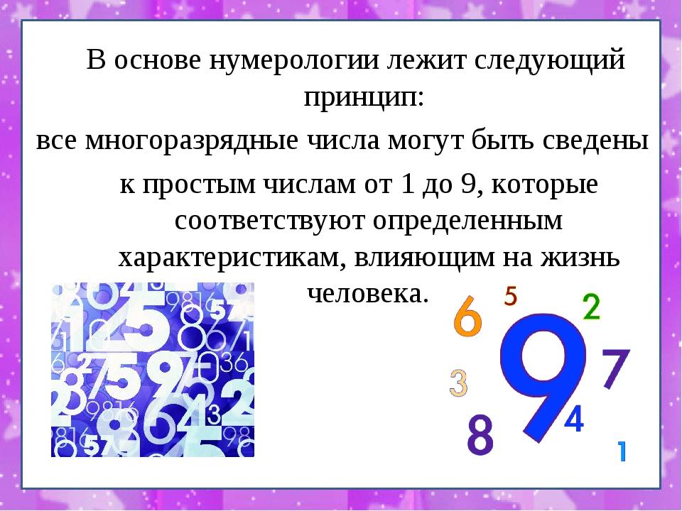 В основе нумерологии лежит следующий принцип: все многоразрядные числа могут...