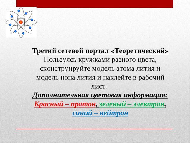 Третий сетевой портал «Теоретический» Пользуясь кружками разного цвета, сконс...