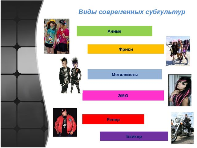 Виды современных субкультур Аниме Фрики Металлисты ЭМО Репер Байкер