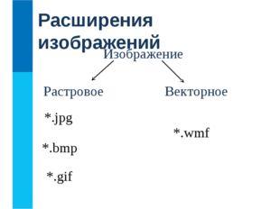 Расширения изображений Изображение Векторное Растровое *.jpg *.wmf *.bmp *.gif
