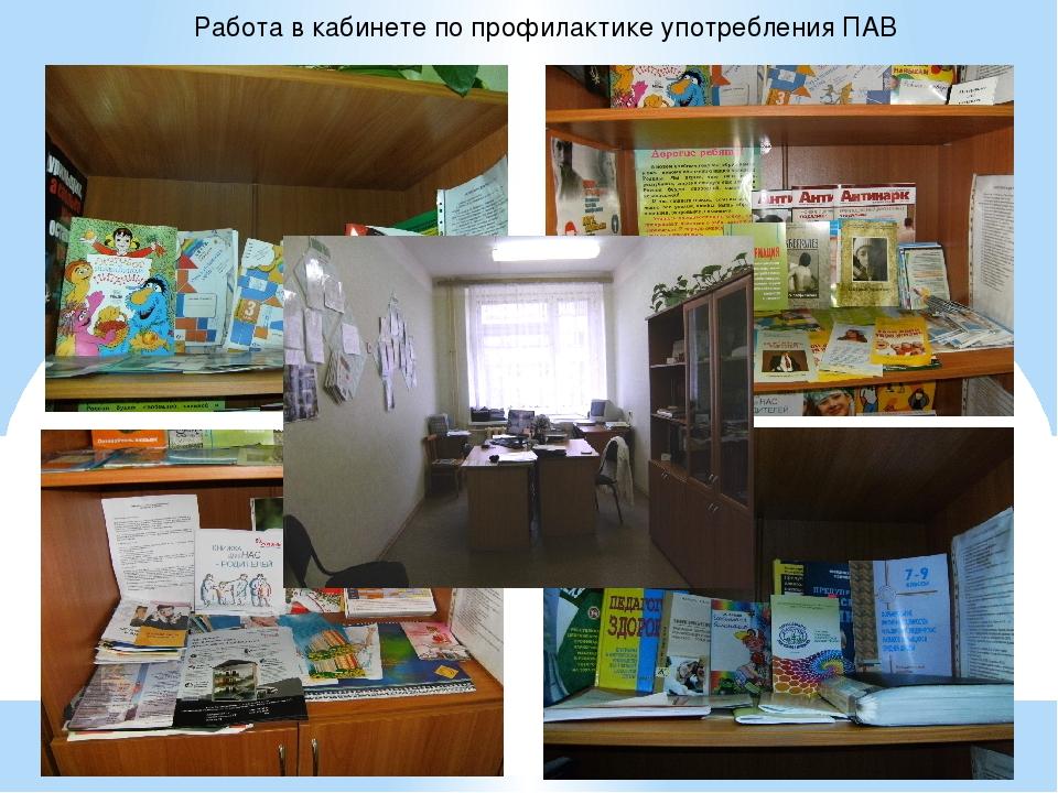 Работа в кабинете по профилактике употребления ПАВ