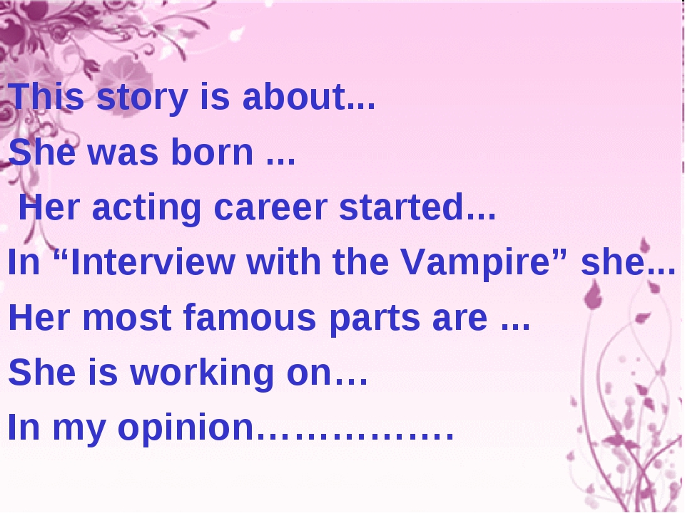 """This story is about... She was born ... Her acting career started... In """"Inte..."""