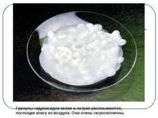 Гранулы гидроксидов калия и натрия расплываются, поглощая влагу из воздуха. О
