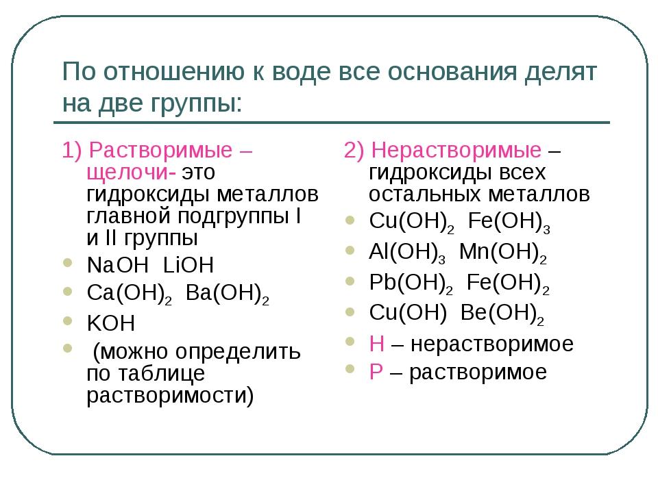 По отношению к воде все основания делят на две группы: 1) Растворимые – щелоч...