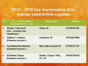 2015 – 2016 оқу жылындағы ата – аналар комитетінің құрамы. № Ата – аналар ком