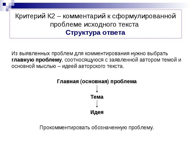Критерий К2 – комментарий к сформулированной проблеме исходного текста Структ...
