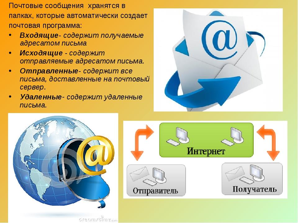 Почтовые сообщения хранятся в папках, которые автоматически создает почтовая...