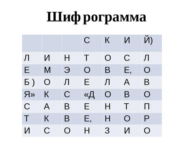 Шифрограмма С К И Й) Л И Н Т О С Л Е М Э О В Е, О Б ) О Л Е Л А В Я» К С «Д О...