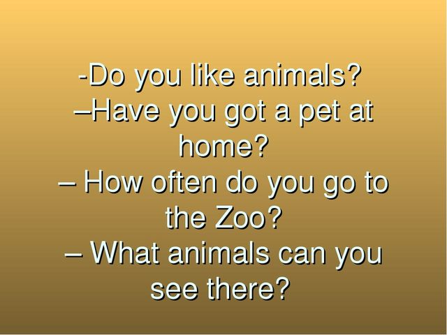-Do you like animals? –Have you got a pet at home? – How often do you go to...
