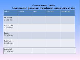 Семантикалық карта Қазақстанның физикалық географиялық картасымен жұмыс атауы