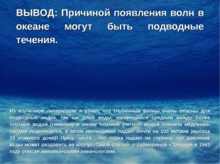ВЫВОД: Причиной появления волн в океане могут быть подводные течения. Из изуч