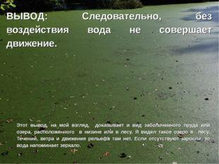 ВЫВОД: Следовательно, без воздействия вода не совершает движение. Этот вывод,