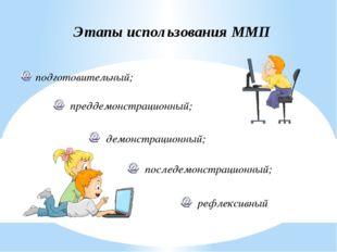 Этапы использования ММП преддемонстрационный; подготовительный; демонстрацион