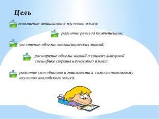 Цель повышение мотивации к изучению языка; развитие речевой компетенции; увел