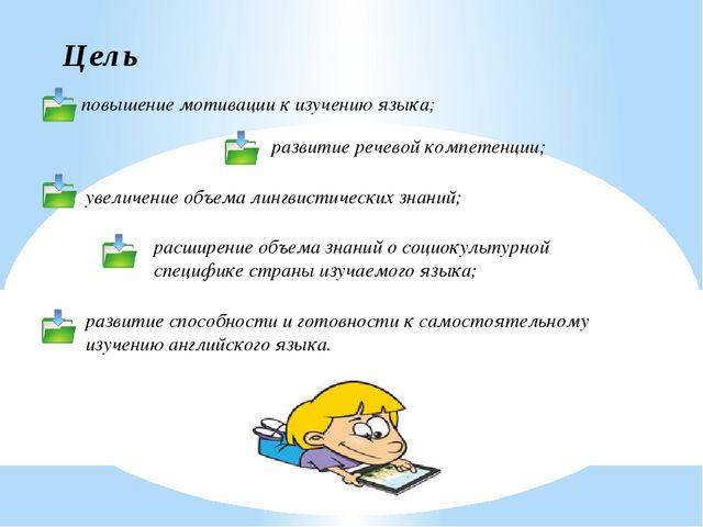 Цель повышение мотивации к изучению языка; развитие речевой компетенции; увел...