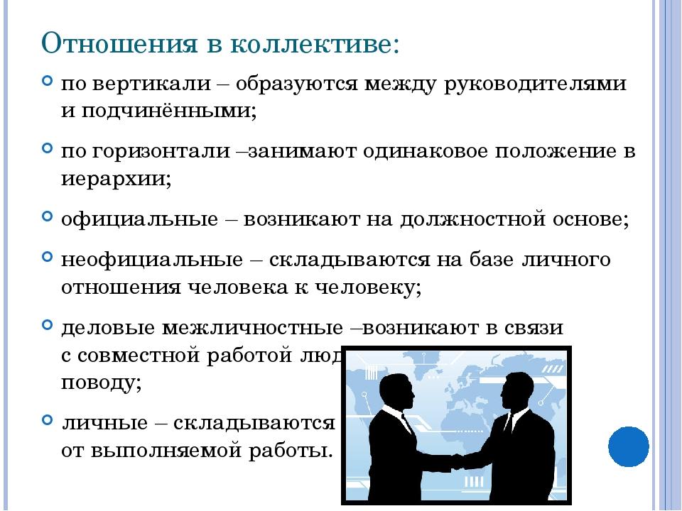 Отношения в коллективе: по вертикали – образуются между руководителями и подч...