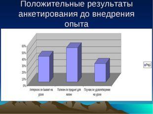Положительные результаты анкетирования до внедрения опыта