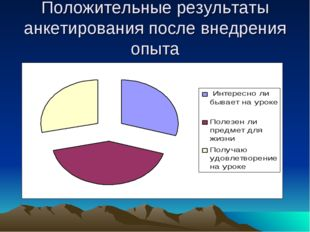 Положительные результаты анкетирования после внедрения опыта